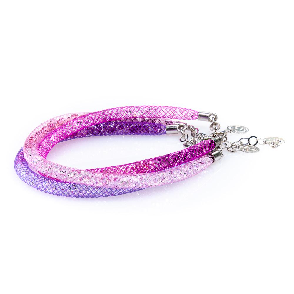 bracciali multicolor sfumati fucsia e viola