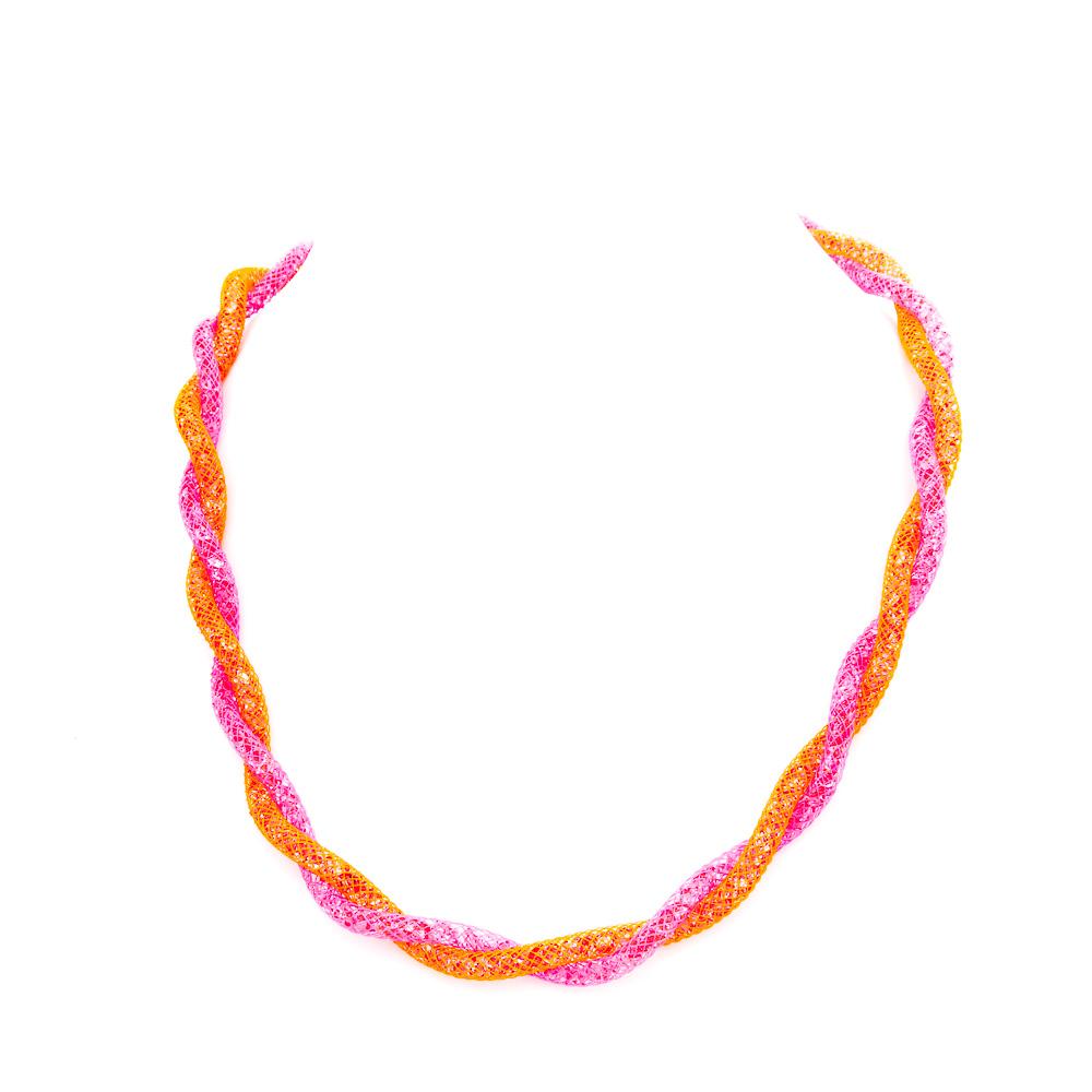Girocollo-intrecciato-colorato-fucsia-arancio-argento-925-cristalli