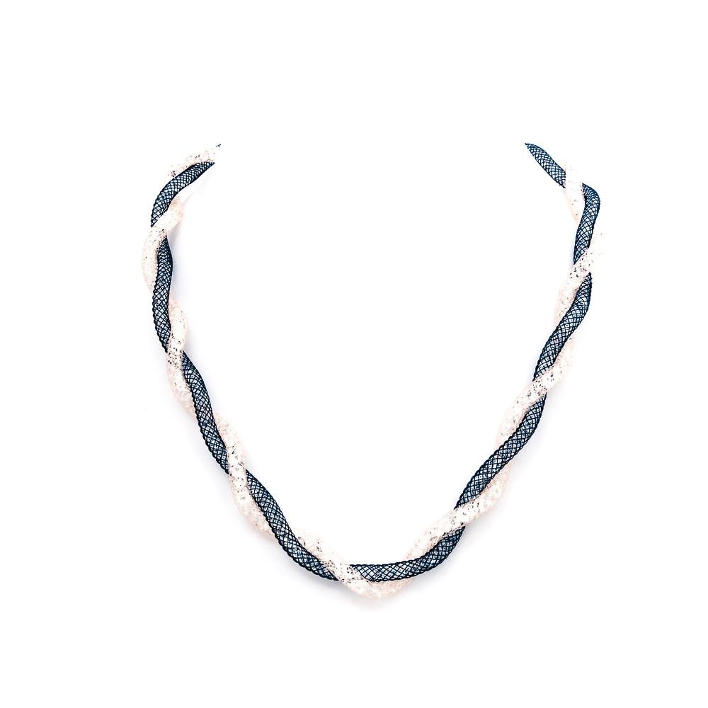 Collana argento 925 intrecciata blu e cipria