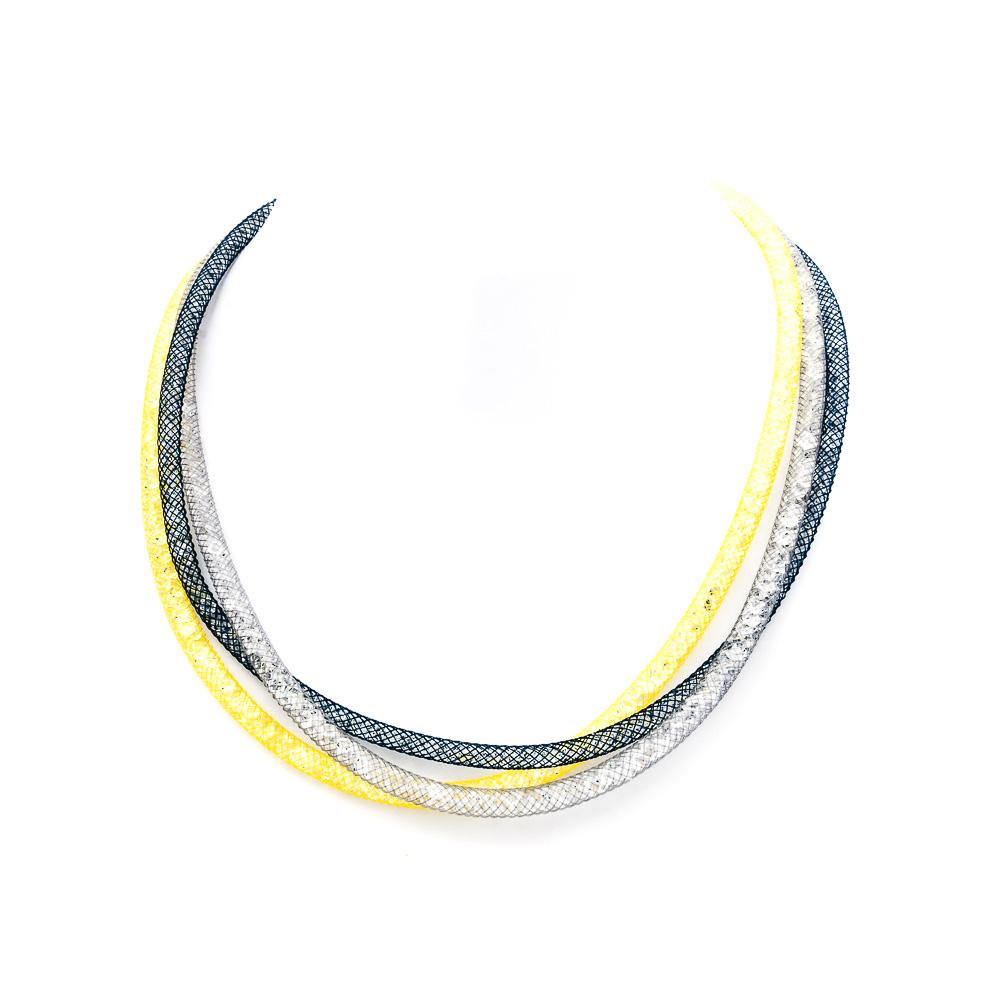 Collana argento-925 gialla-blu-grigia