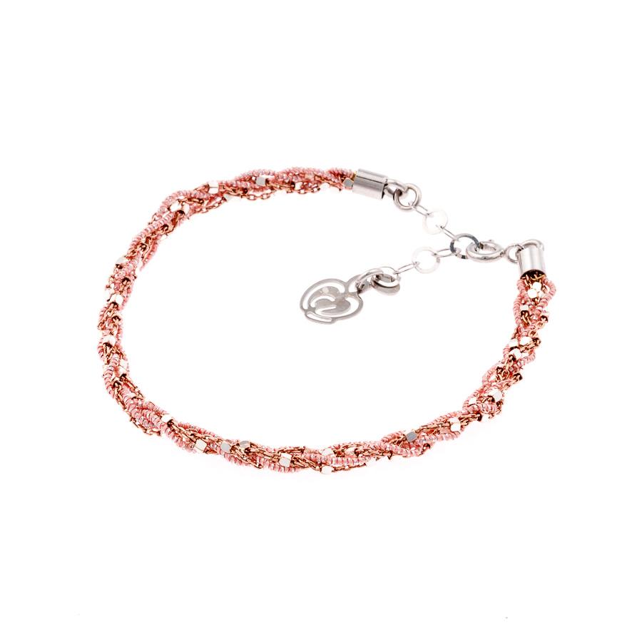 bracciale argento-925-tessuto colore cipria