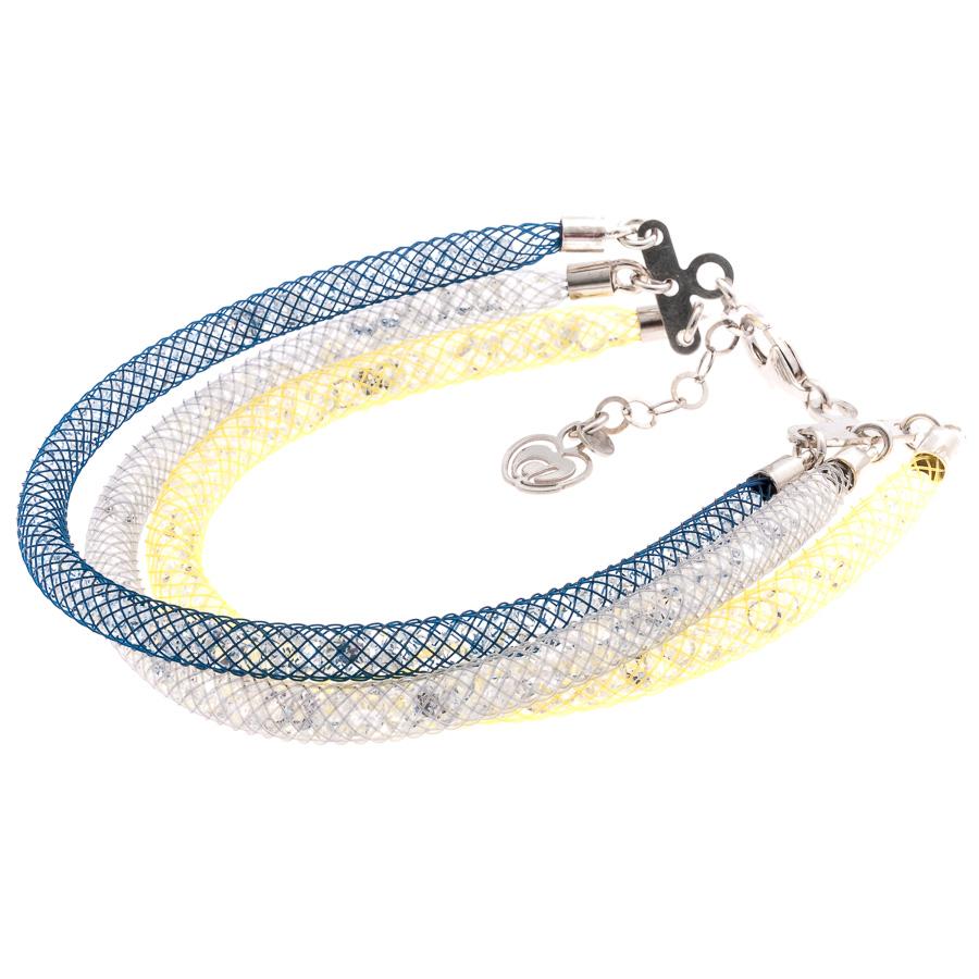bracciale argento donna 3 fili blu giallo grigio