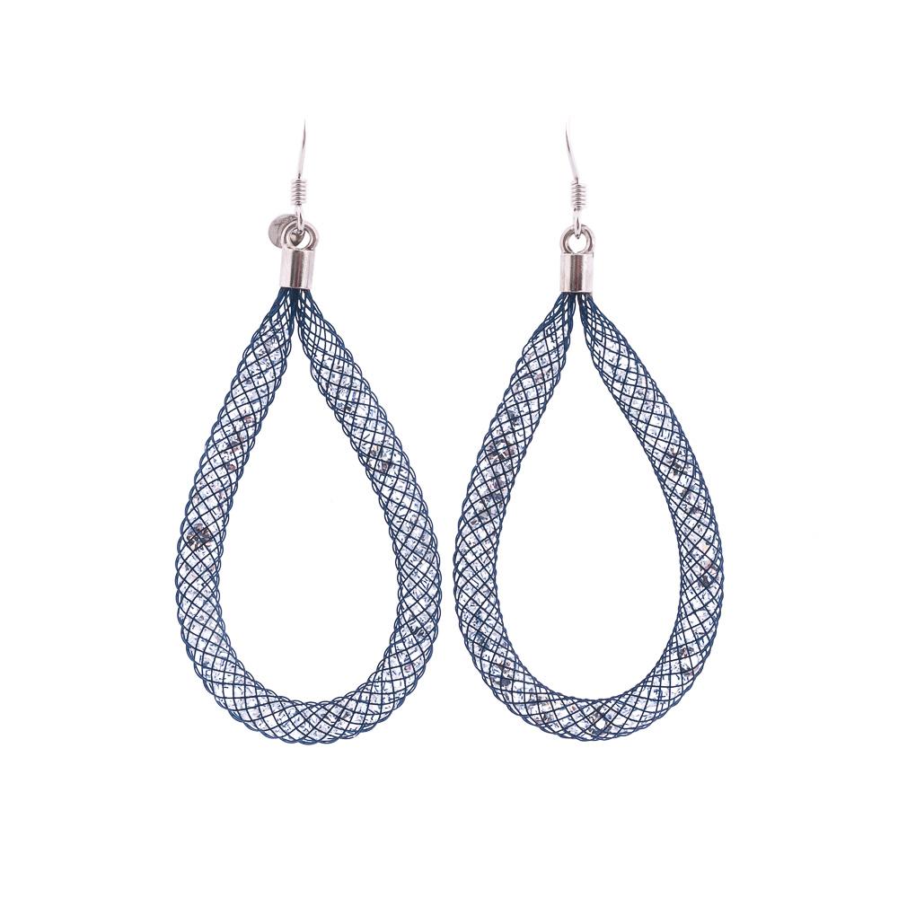 Orecchino argento 925 cristalli blu