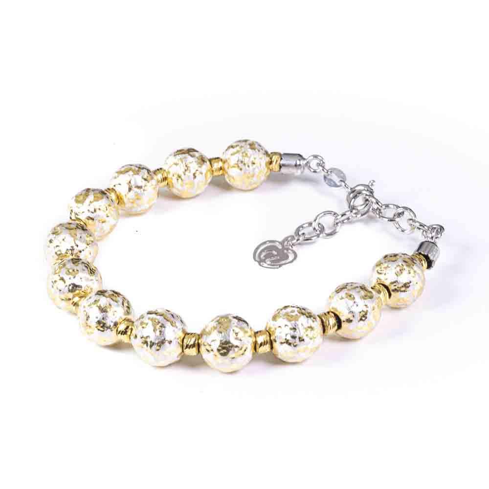 bracciale argento-925 sfere color oro