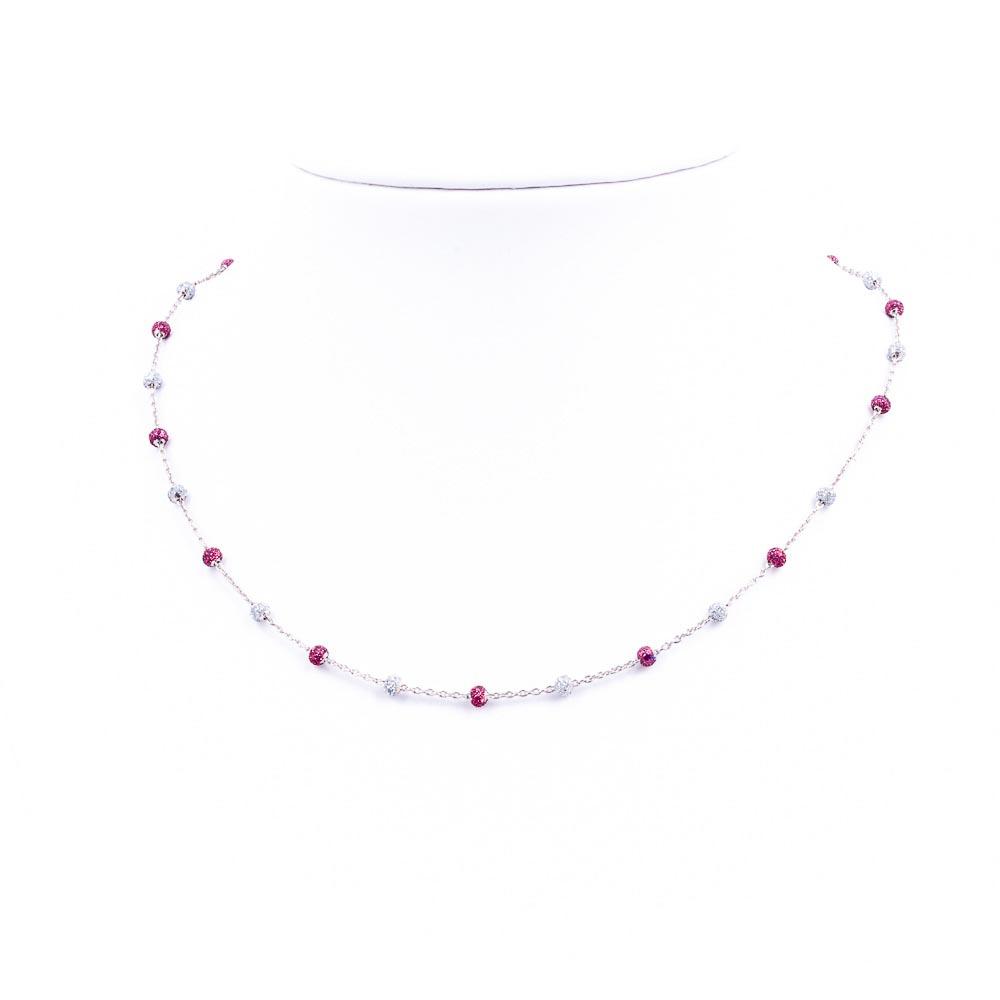 collana smalti fucsia-glitter argento-925