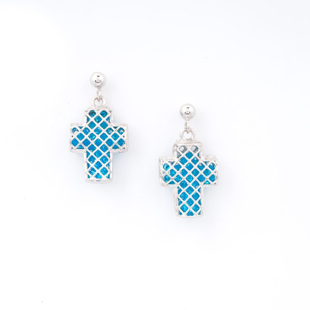 Orecchini argento 925 e cristalli azzurri a forma di croce