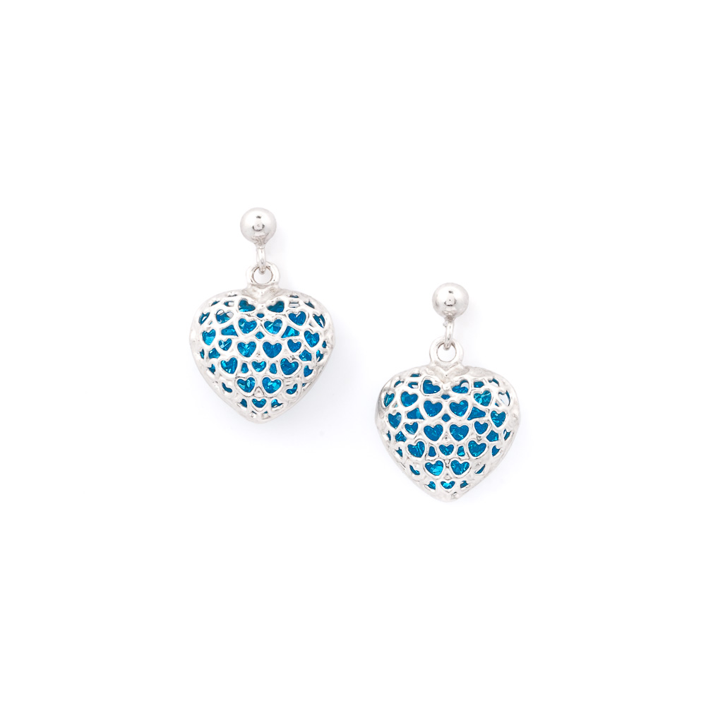 orecchini argento-925 a forma di cuore con cristalli azzurri