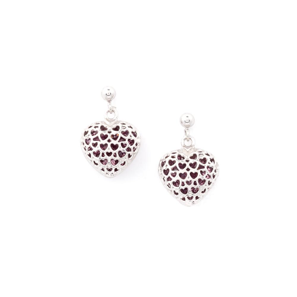 Orecchini cuore viola argento 925 e cristalli
