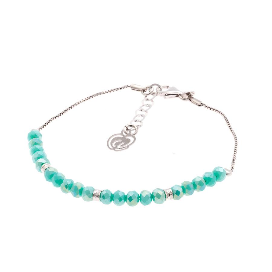 braccialetto argento bambina verde tiffany