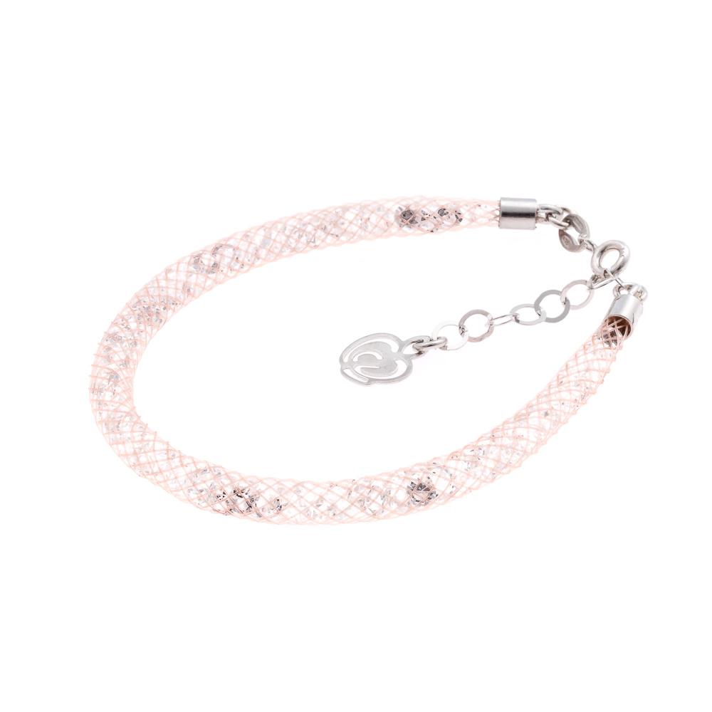 Bracciale cipria-argento-cristalli bianchi