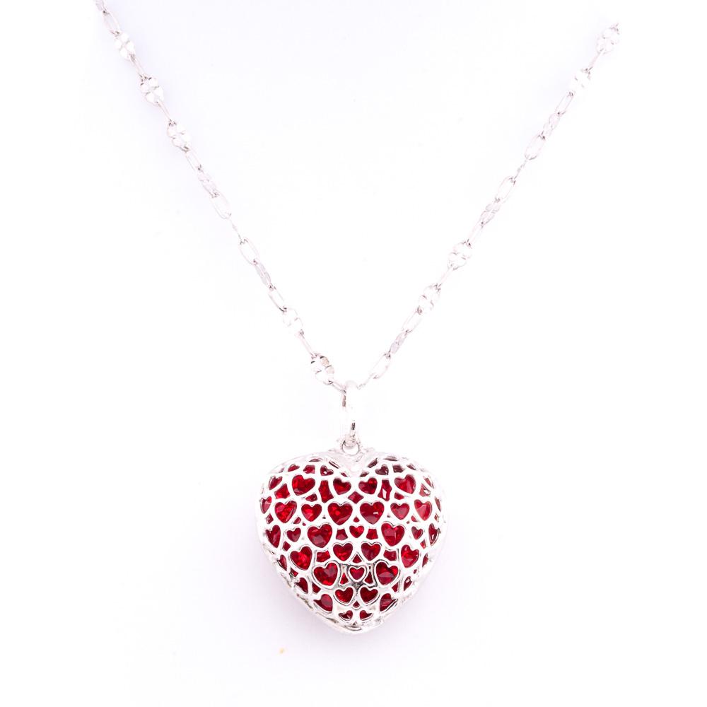 Ciondolo argento 925 cristalli rossi a forma di cuore