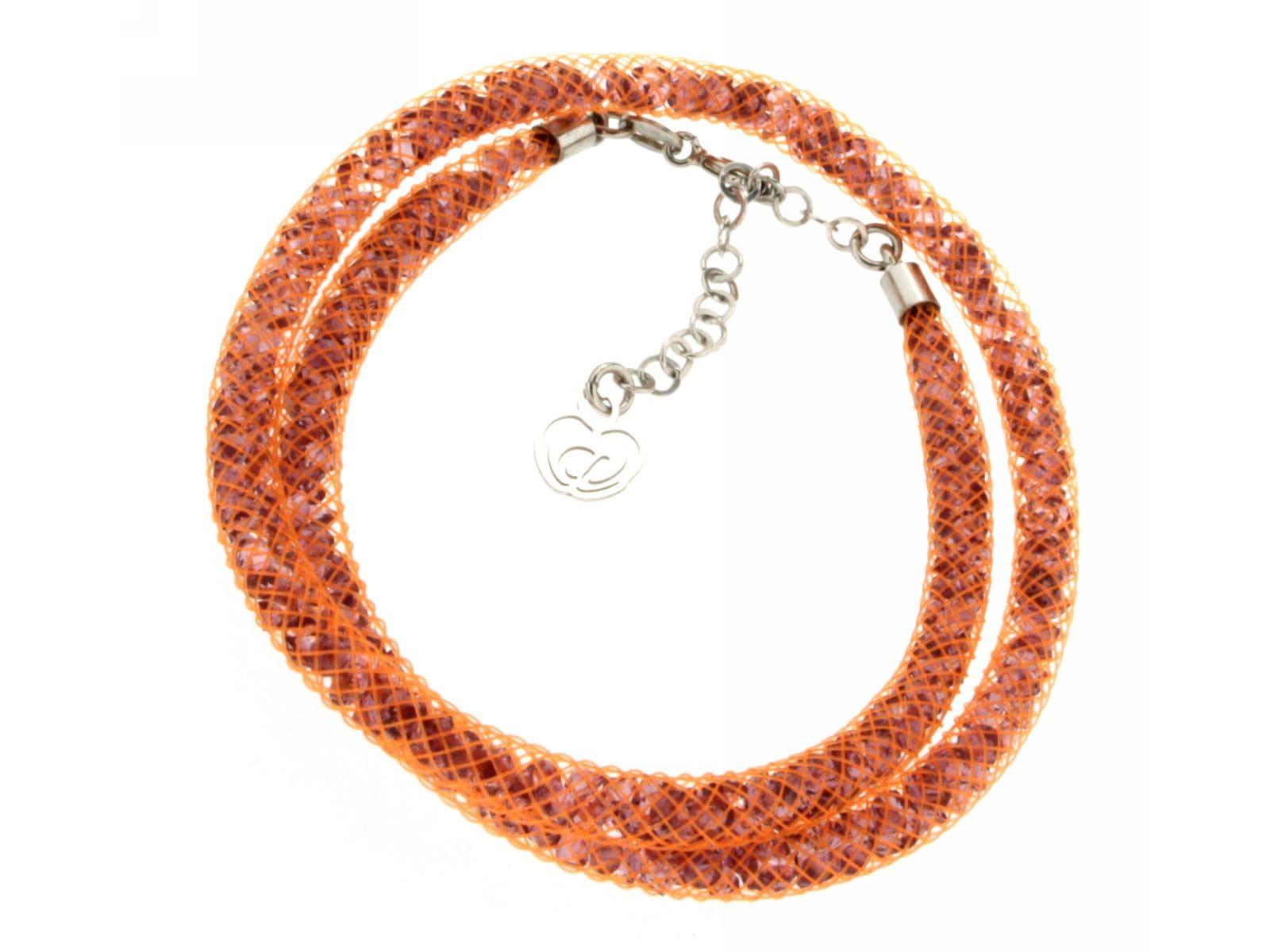 bracciale a doppio giro arancione cuoio argento 925