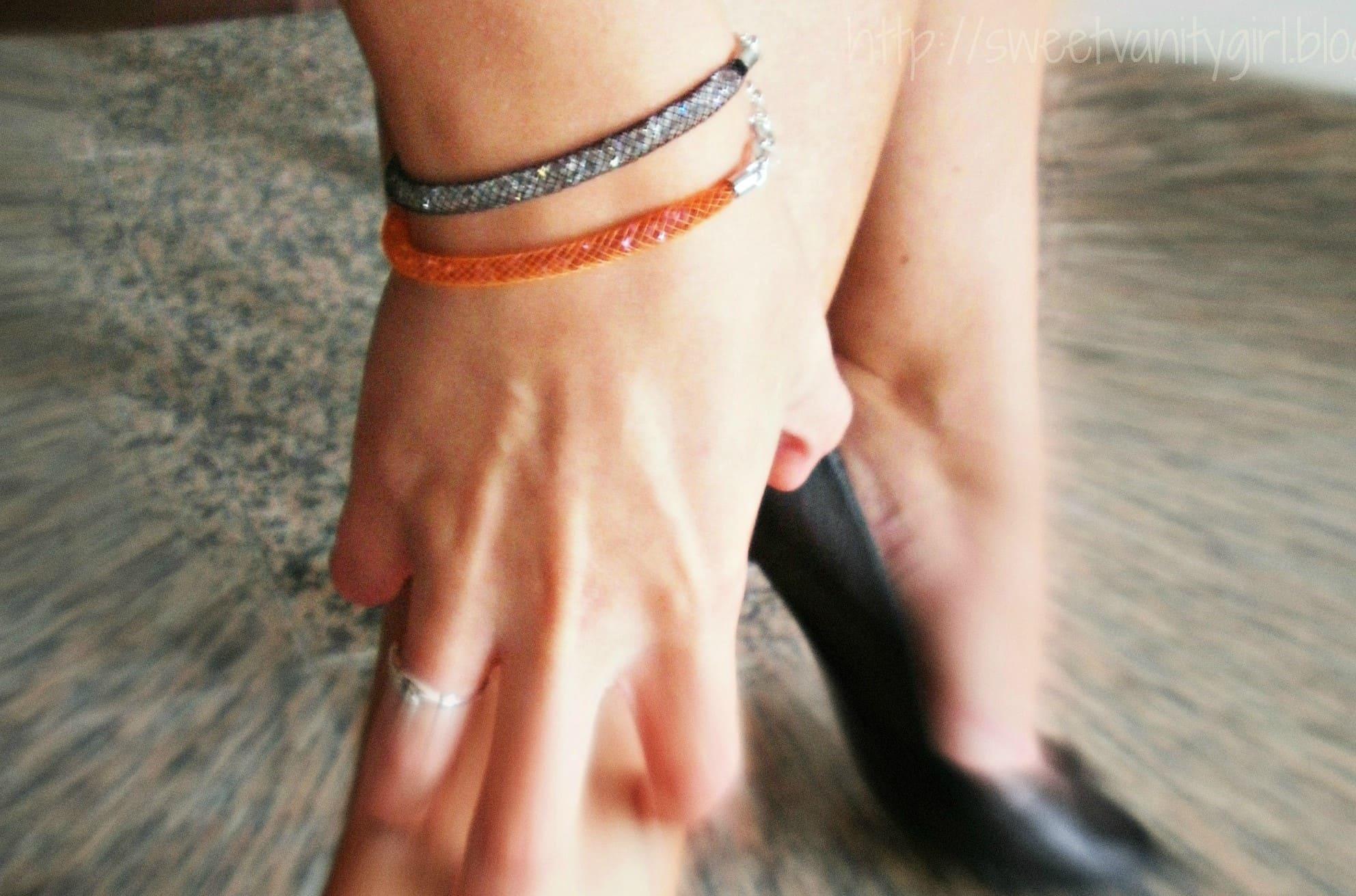bracciale argento-925 arancione indossato