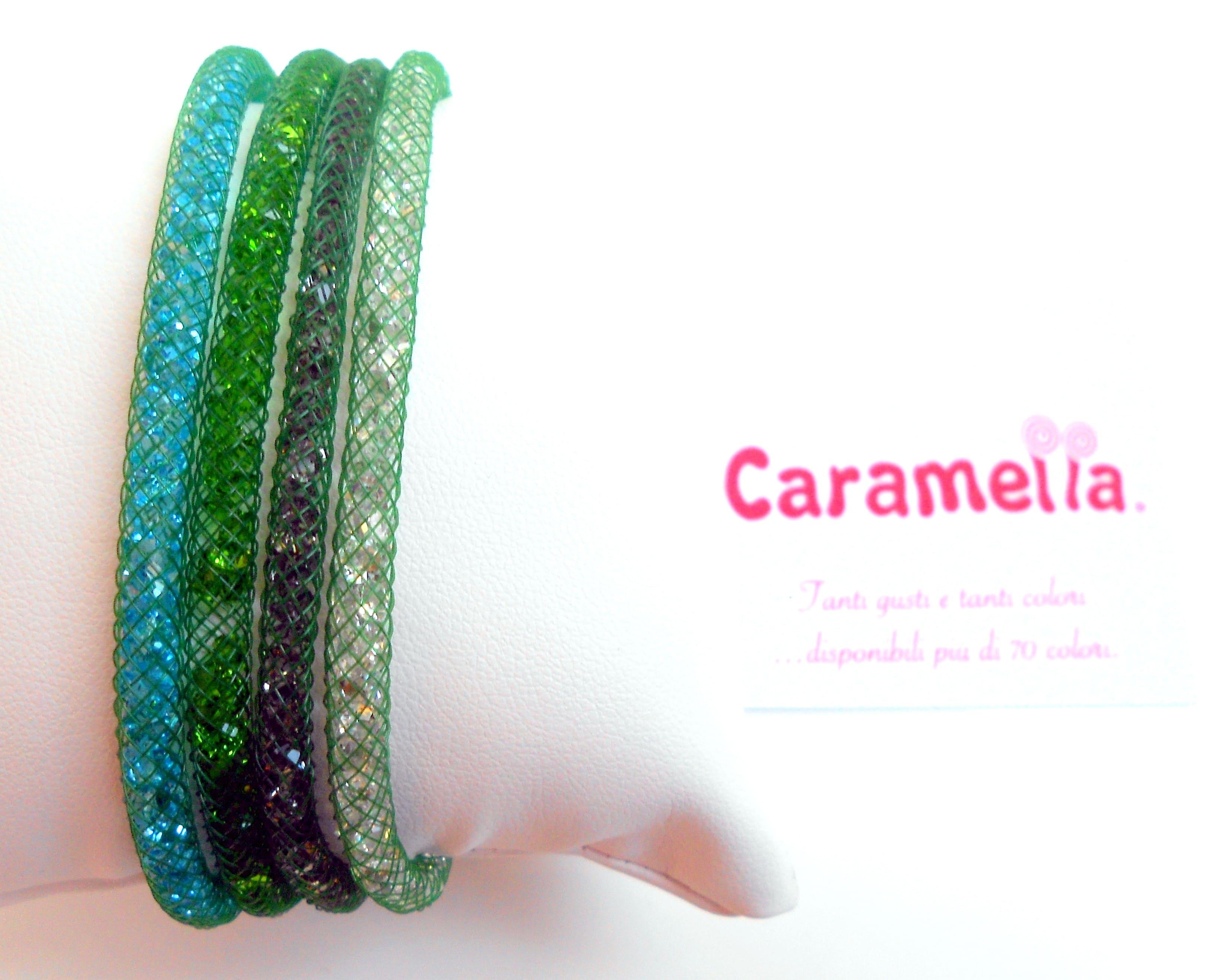Bracciali verdi ed argento di 4 colori