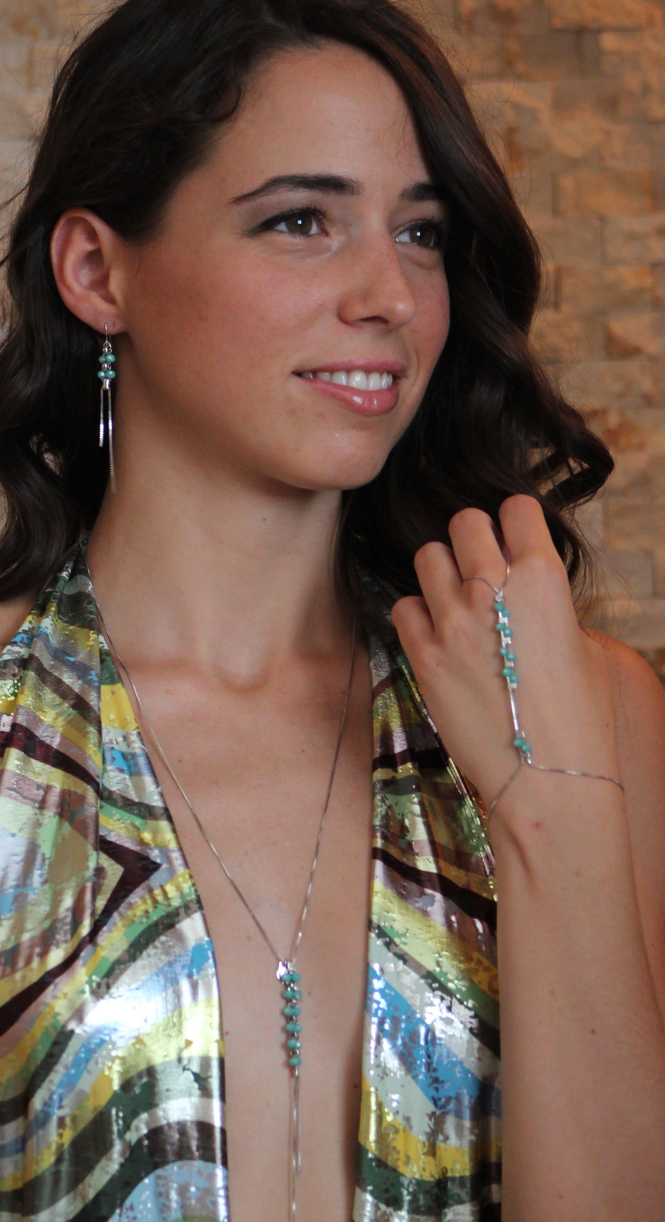 collana baciamano orecchini verde acquamarina argento