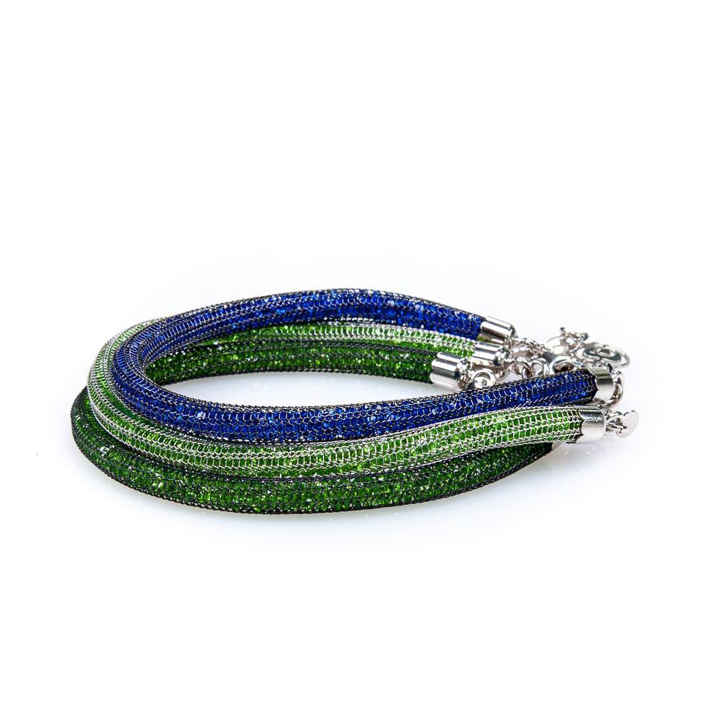 Bracciali argento cristallo verde e blu